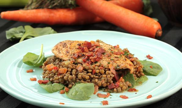 Lentil Stew with Pan Fried Chicken